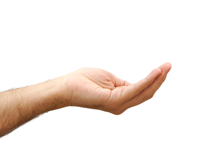 손 아무것도 개최 준비했다. 제스처 흰색 배경에 고립