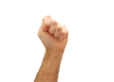 Caucasian man tight fist isolated on white background. Communism concept