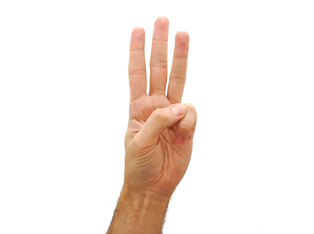 Caucasian man hand showing three fingers isolated on white background