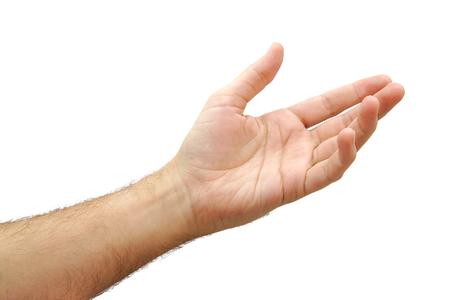 Hombre de raza caucásica mano abierta y dispuesto a ayudar o recibir. Gesto aislado en fondo blanco Foto de archivo