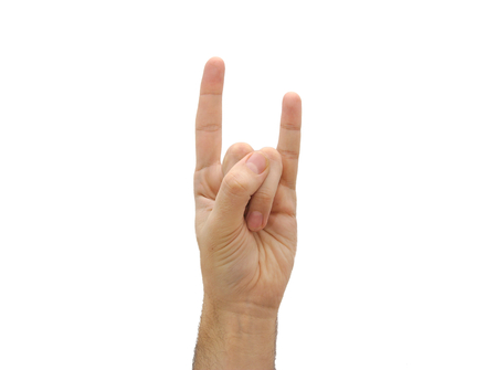 Caucasian man hand showing index and little finger. Offensive gesture isolated on white background photo