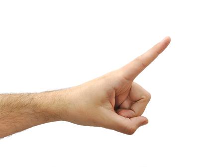 흰색 배경에 고립 된 가운데 손가락으로 가리키는 백인 남자 손 스톡 콘텐츠