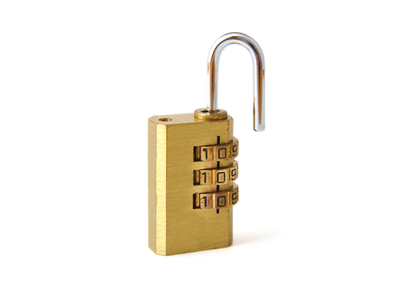 unlocked: Used steel unlocked padlock on white background