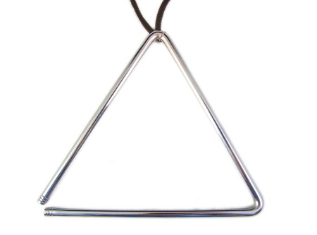 Musical grey triangle instrument on white background