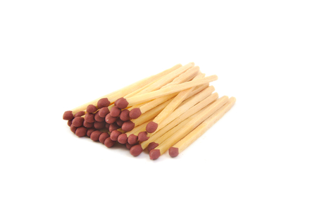 white phosphorus: Bunch of matchsticks on a white background