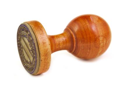 validez: Estampador de madera vieja y de la vendimia en el fondo blanco