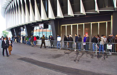 queueing: BILBAO, SPAIN - MAY 28 2015:  People queueing for a ticket at San Mames, Athletic Club football team home stadium. Bilbao, Basque Country, Spain