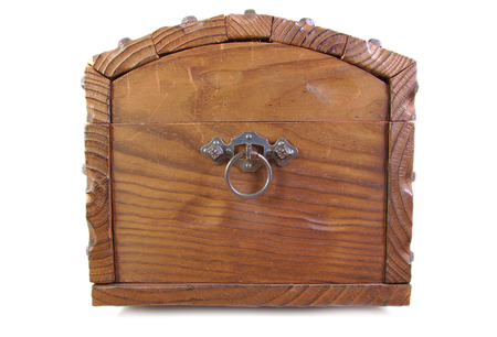 Side view of an antique wood footlocker on white background
