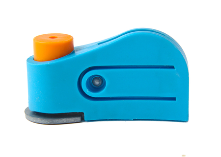 hole puncher: Blue plastic hole puncher isolated on white background