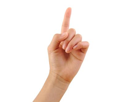 Meisje hand met een vinger op een witte achtergrond. Nummer een