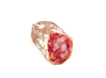 embutido: Spanish sausage, fuet, salami on white background Stock Photo