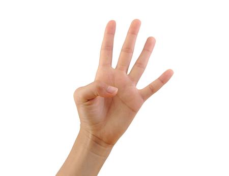 흰색 배경에 고립 된 세 손가락을 게재하는 소녀 손. 세 번째