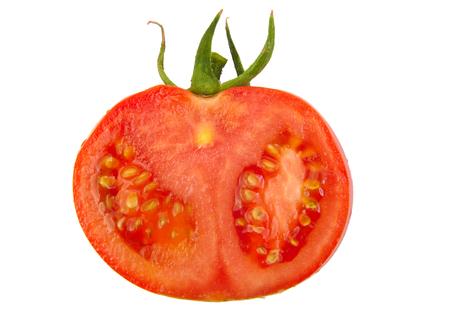 tomato slice: Tomato slice isolated on white background. Top view