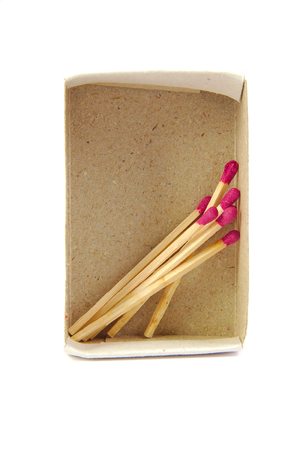 firebug: Frontal view of an almost empty matchbox on white background