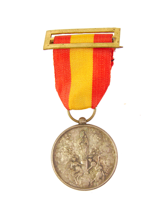 accolade: Medal of Honor showing Spanish flag and Our Lady of Pilar or Pillar image isolated on white background Stock Photo