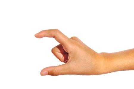 lady hand: Hand pose like picking something isolated on a white background Stock Photo