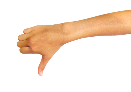 rejection: Hand thumb down isolated on a white background. Rejection symbol