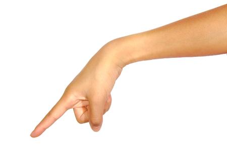 Gros plan de pointage femelle main vers le bas isolé sur fond blanc