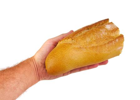 손 제공 또는 공유 빵 흰색 배경에 고립입니다. Charitu 개념 스톡 콘텐츠