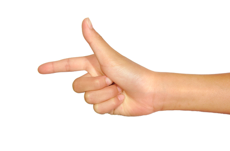 Female caucasian hand gesture of a single pointing finger isolated over the white background