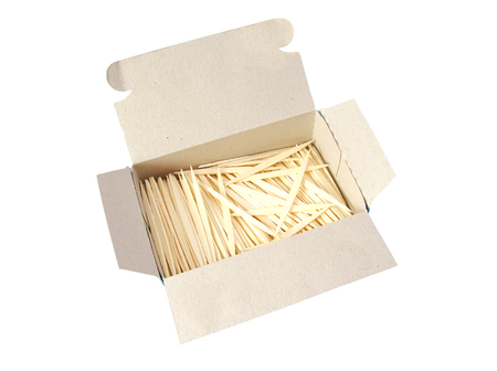 Packaging of new toothpicks isolated on white background.