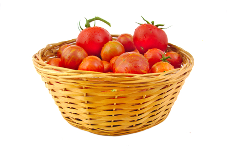 흰색 배경에 절연 바구니에 유기농 토마토 스톡 콘텐츠
