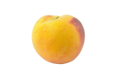 Single peach isolated on a white background