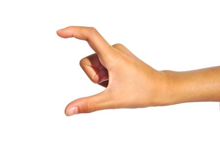 average guy: Hand showing medium size. Hand gesture isolated on white background