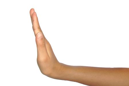흰색 배경에 고립 된 정지 신호를 손으로