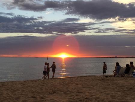 st kilda: Sunset in the beach Stock Photo