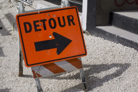 slow lane: construction signs