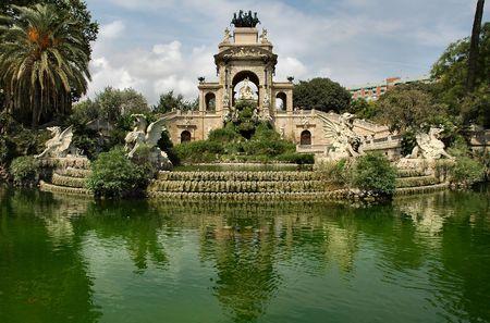 Big fountain - Barcelona Stock Photo