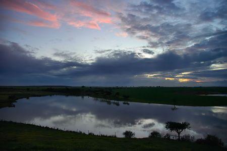 Lake at sunset photo