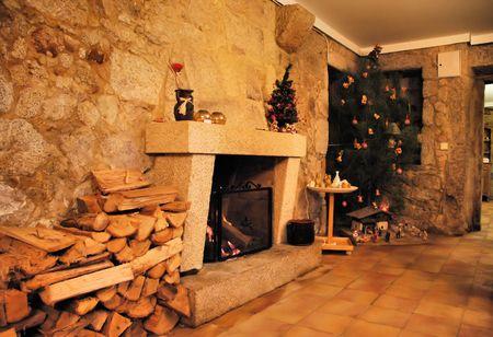 huge christmas tree: Fireplace