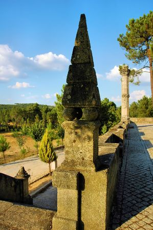 Portuguese monument in the countryside. Traditional stone work. photo