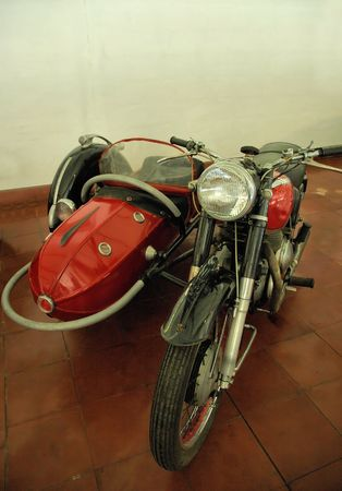 sidecar: Old motorcycle with side-car