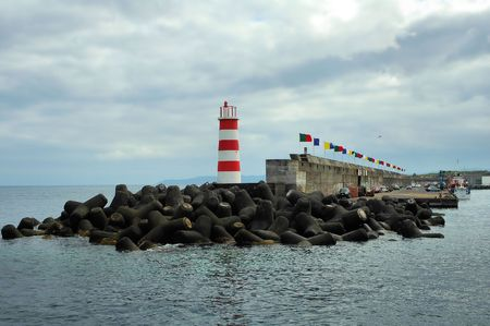 Entrance to a sea port at Azores islands
