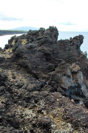 volcanic stones: Black volcanic rocks at the coast of Azores