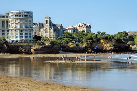 building monumental: Beach in the french city of Biarritz Stock Photo
