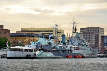 a battleship: Battleship Belfast moored on the river Thames Editorial