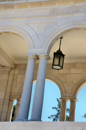 stone arches: Architectural detail with stone arches and columns