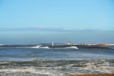 breakwaters: Breakwaters with lighthouses at the seaport entrance