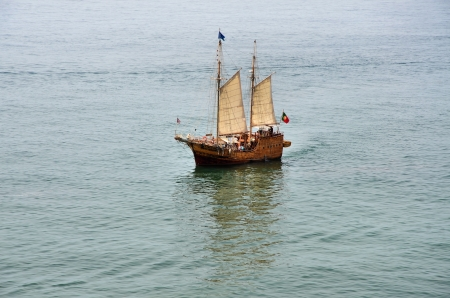 Replica of a Portuguese caravel sailing in the middle of the sea