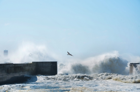 breakwaters: Strong waves hitting the breakwaters Stock Photo