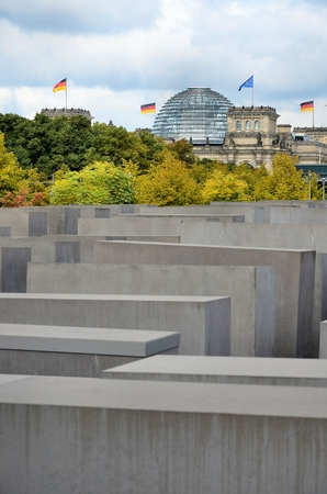 murdered: Reichstag building and the memorial to the murdered Jews of Europe