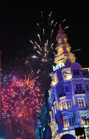 famous building: Famous building in the city of Porto and fireworks Editorial