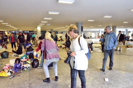 durty: Syrian migrants concentrated near the Budapests international railway station, on Saturday September 5, 2015 Editorial