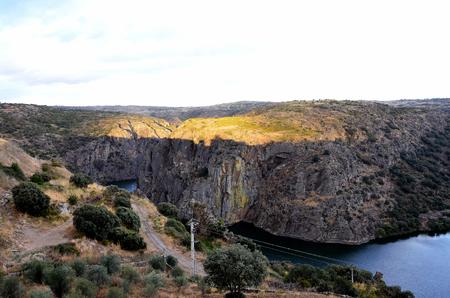 douro: Douro river cliffs at sunset