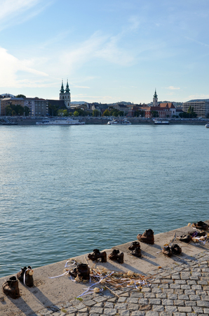 The Danube River and the shoes memorial in Budapest