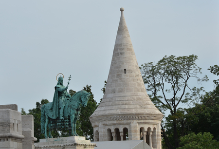 stephen: The Fishermans Bastion and the statue of Stephen I in Budapest